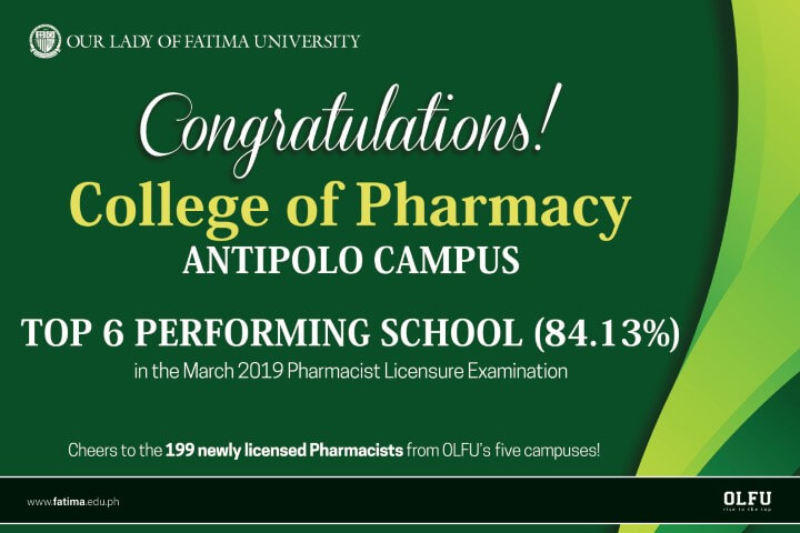 OLFU Antipolo takes Top 6 Performing School distinction in March 2019 Pharmacist Licensure Examination