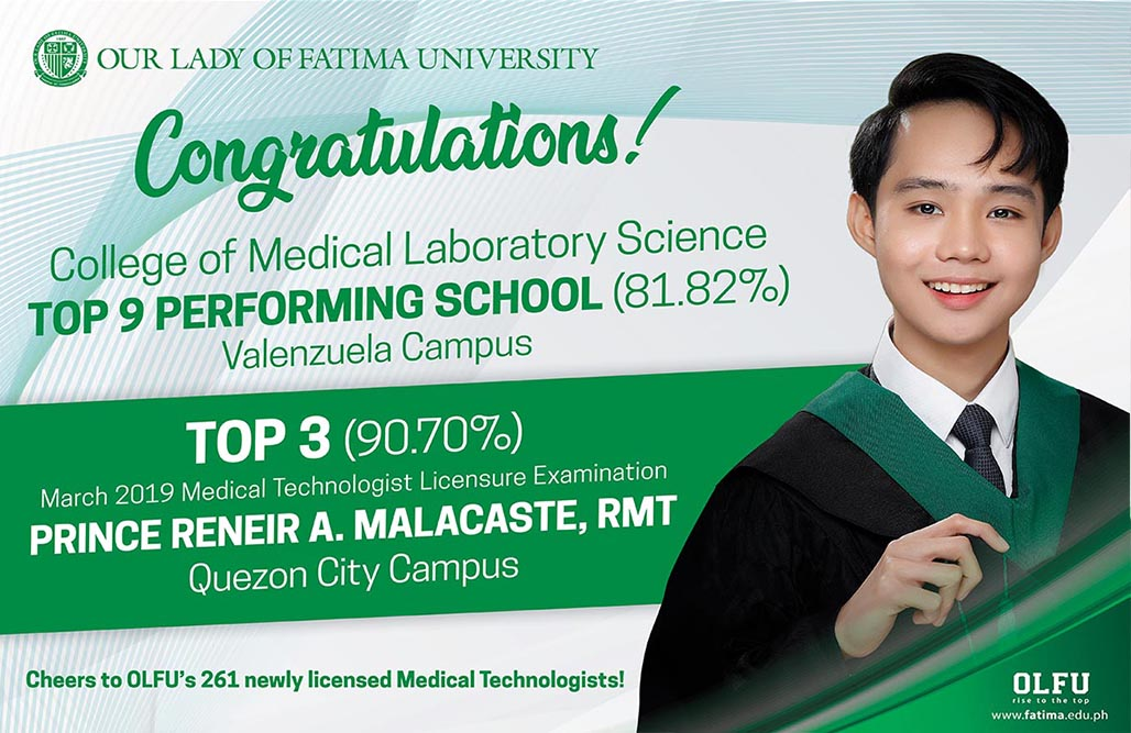 College of Medical Laboratory Science aces March 2019 MedTech boards with Two Top Distinctions