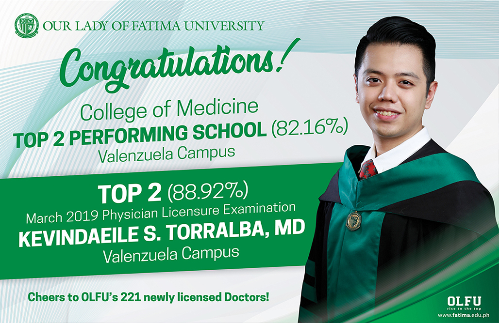 College of Medicine scores back-to-back Top 2 in March 2019 Physician Licensure Exam
