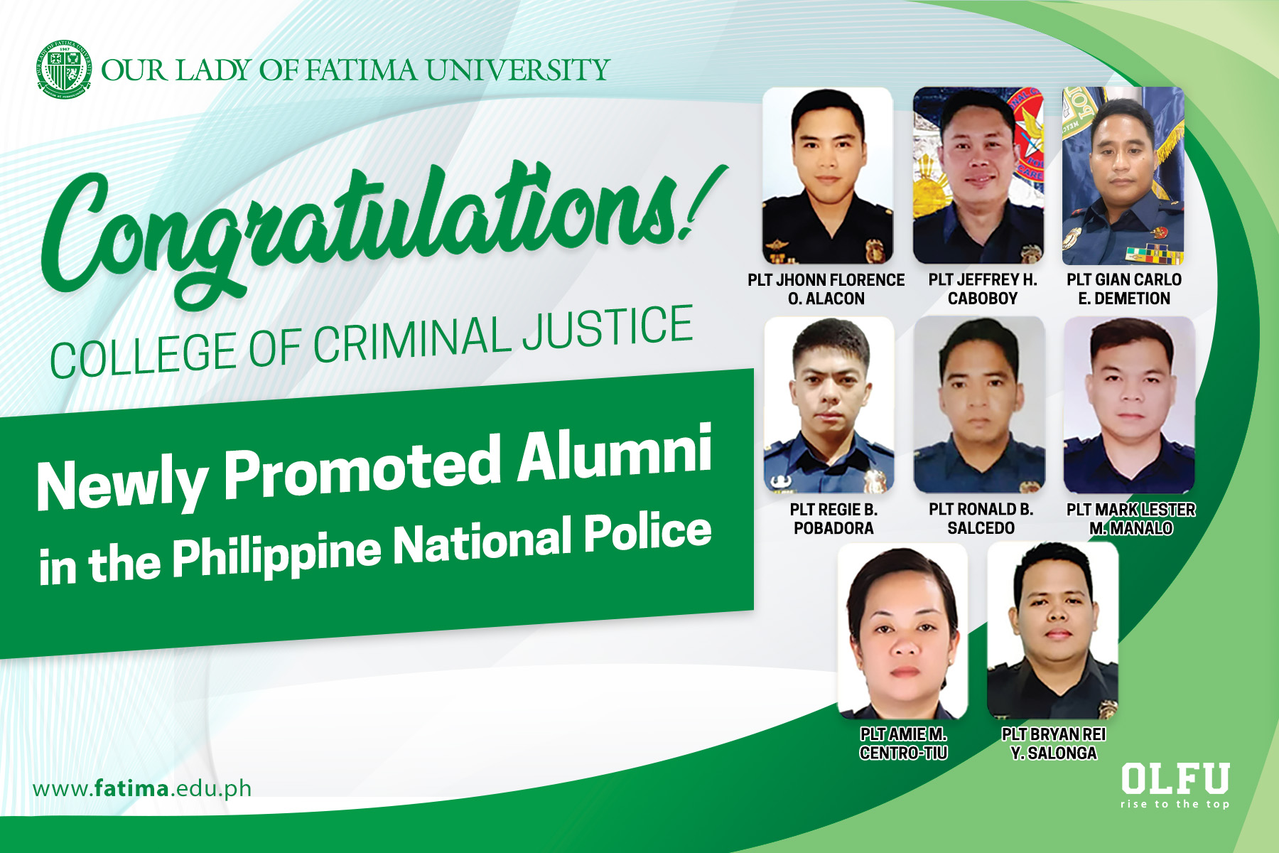 Criminal Justice Alumni rise in PNP ranks; Eight promoted to Police Lieutenant