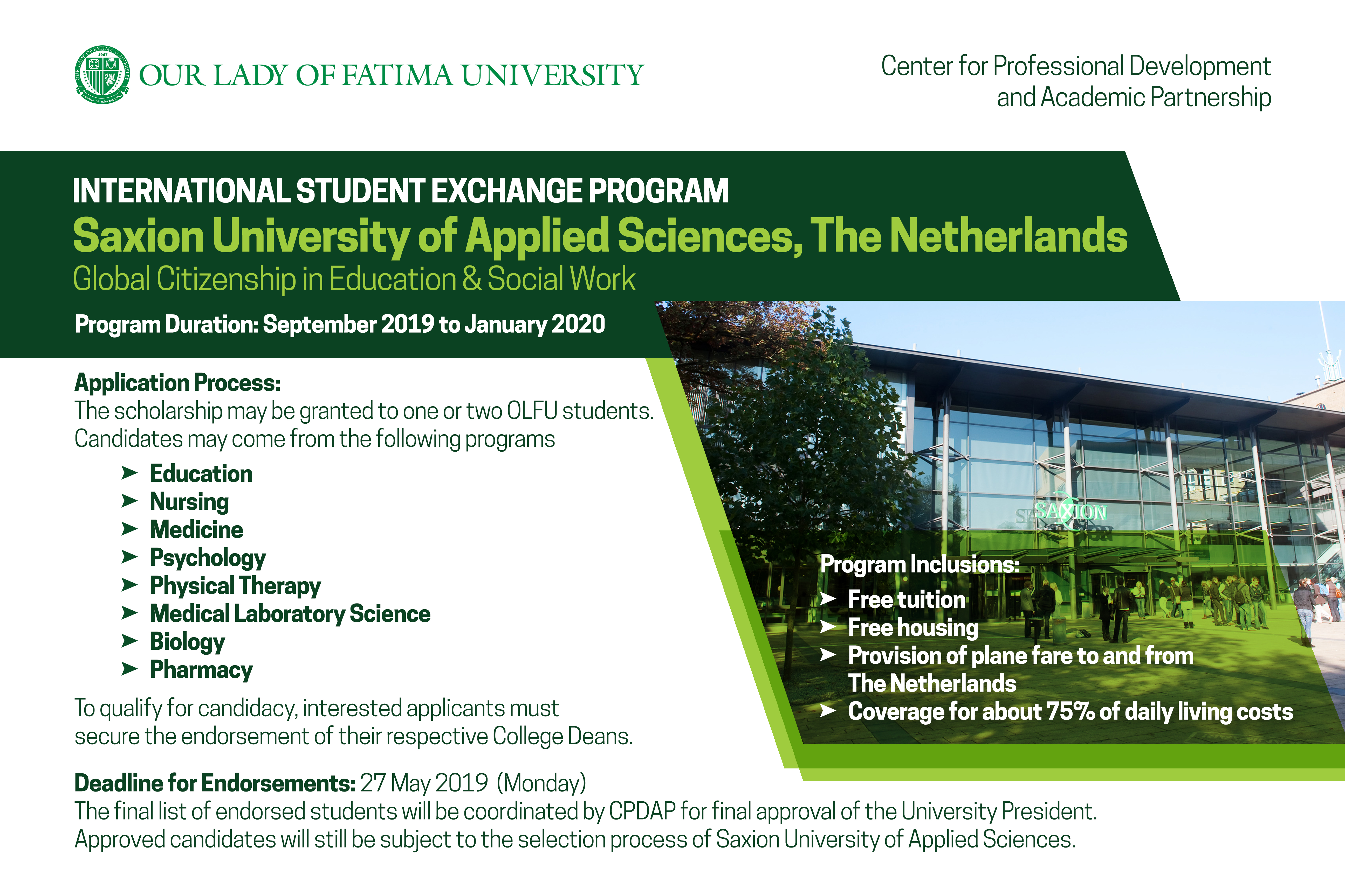 The Netherlands' Saxion University of Applied Sciences offers Student Exchange Program Scholarship to OLFU Students