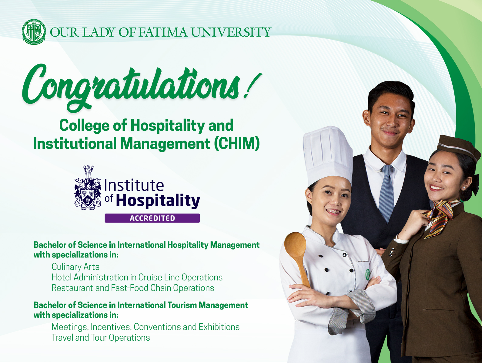 OLFU CHIM Programs, first in the PH to be accredited by the Institute of Hospitality