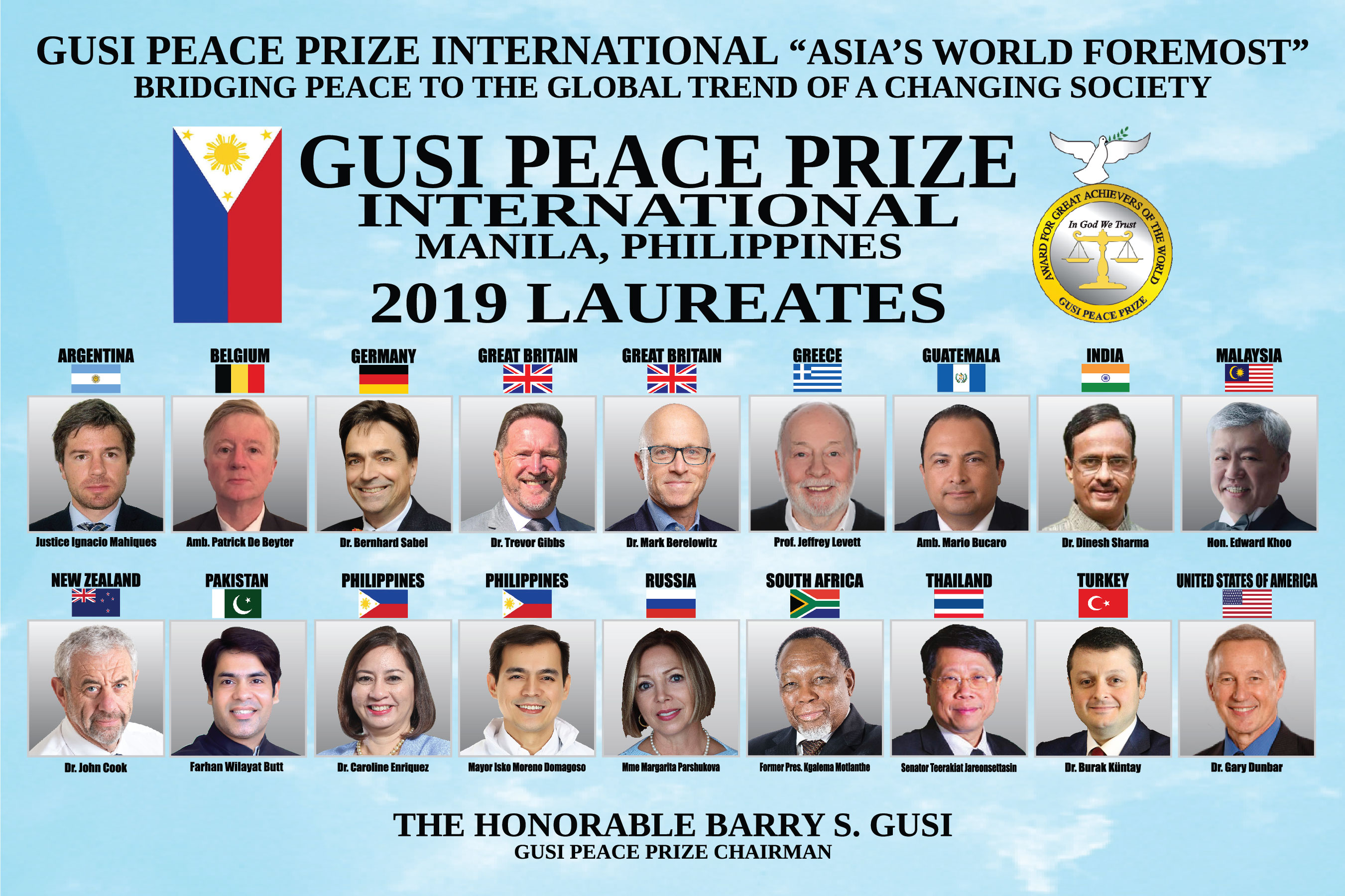 Dr. Enriquez to be recognized as 2019 Gusi Peace Prize Laureate