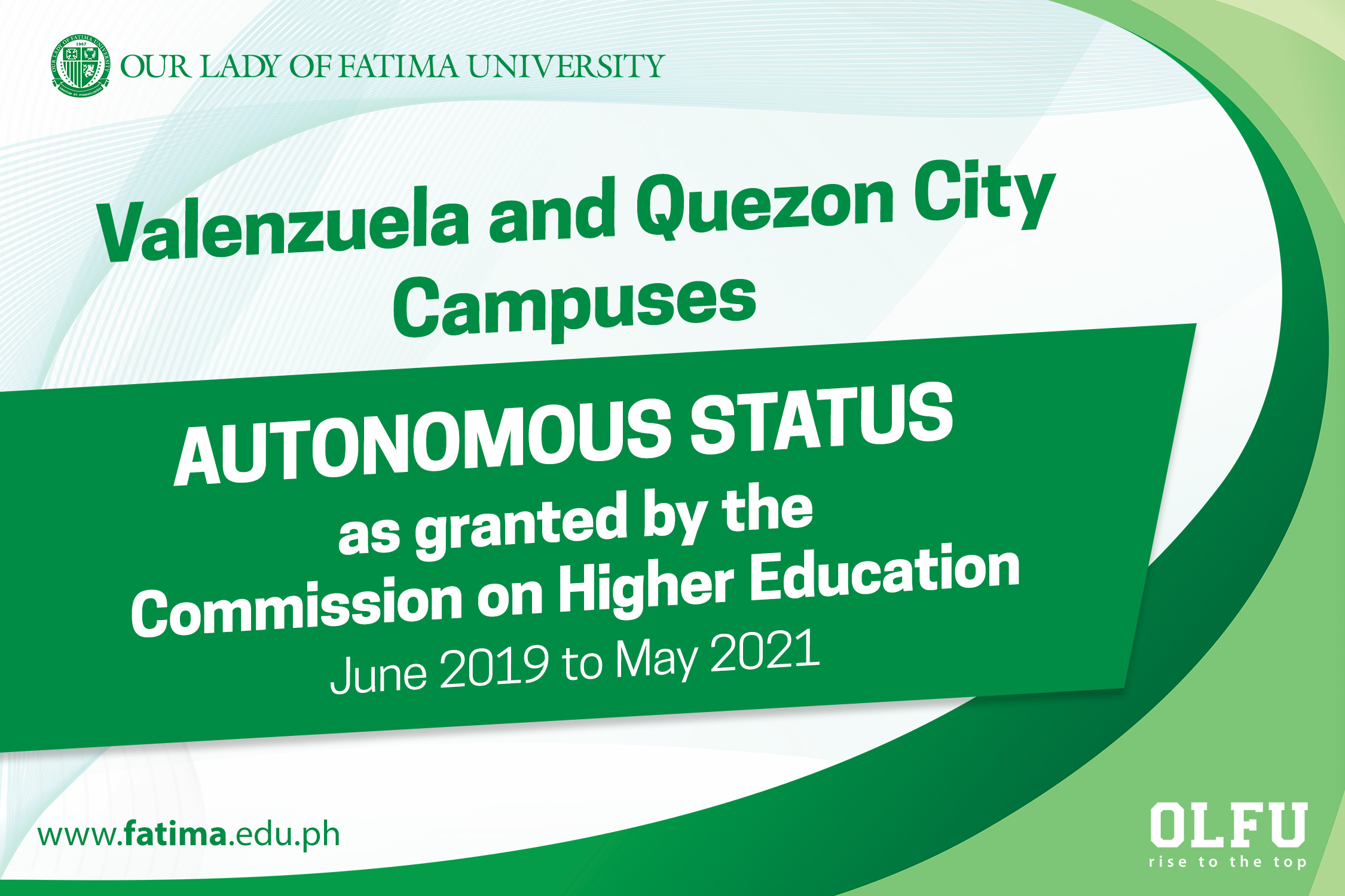 Valenzuela and Quezon City Campuses granted Autonomous Status by CHED