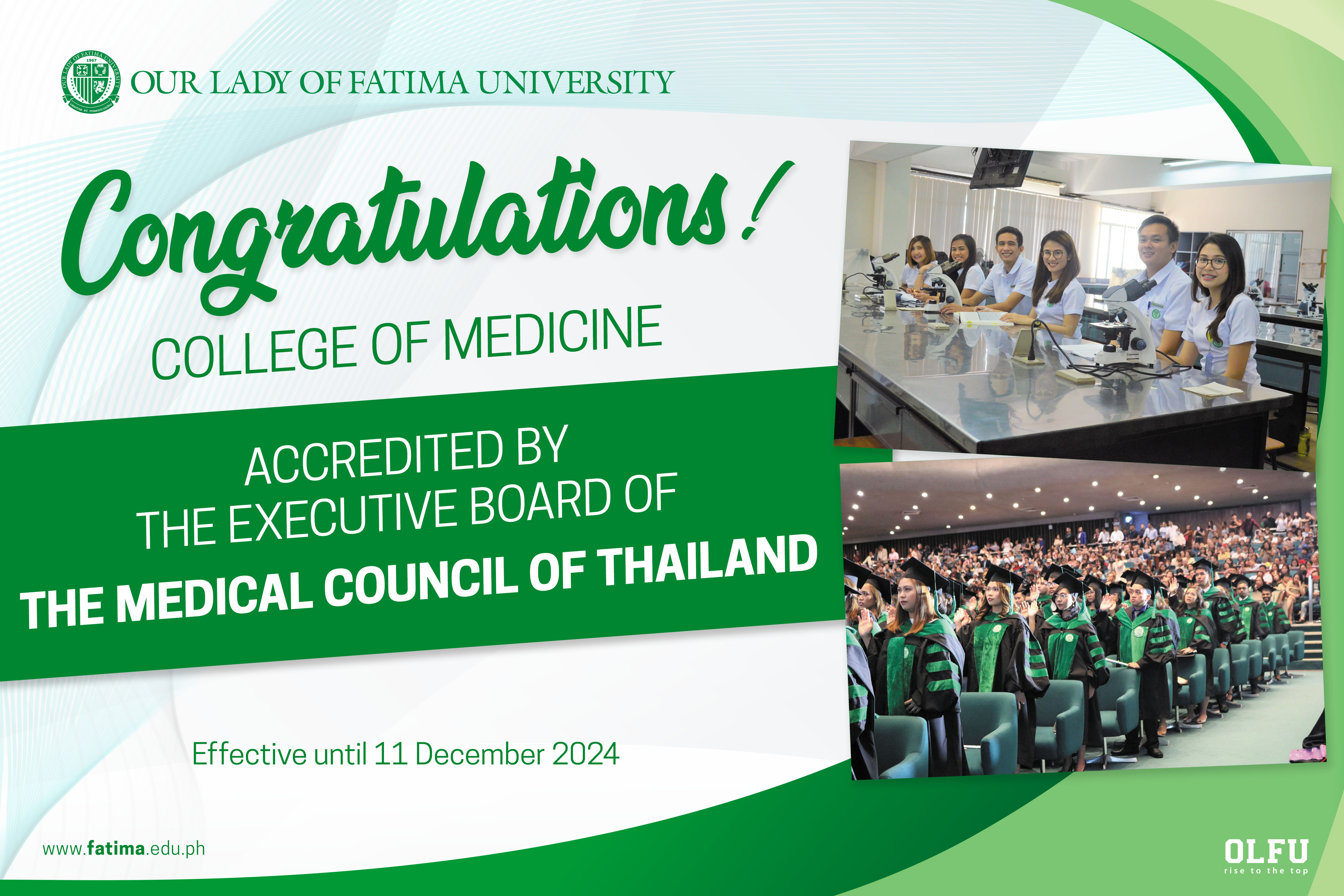 College of Medicine receives accreditation from The Medical Council of Thailand