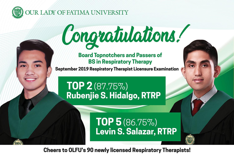 Respiratory Therapy's Hidalgo and Salazar top September 2019 Licensure Examination