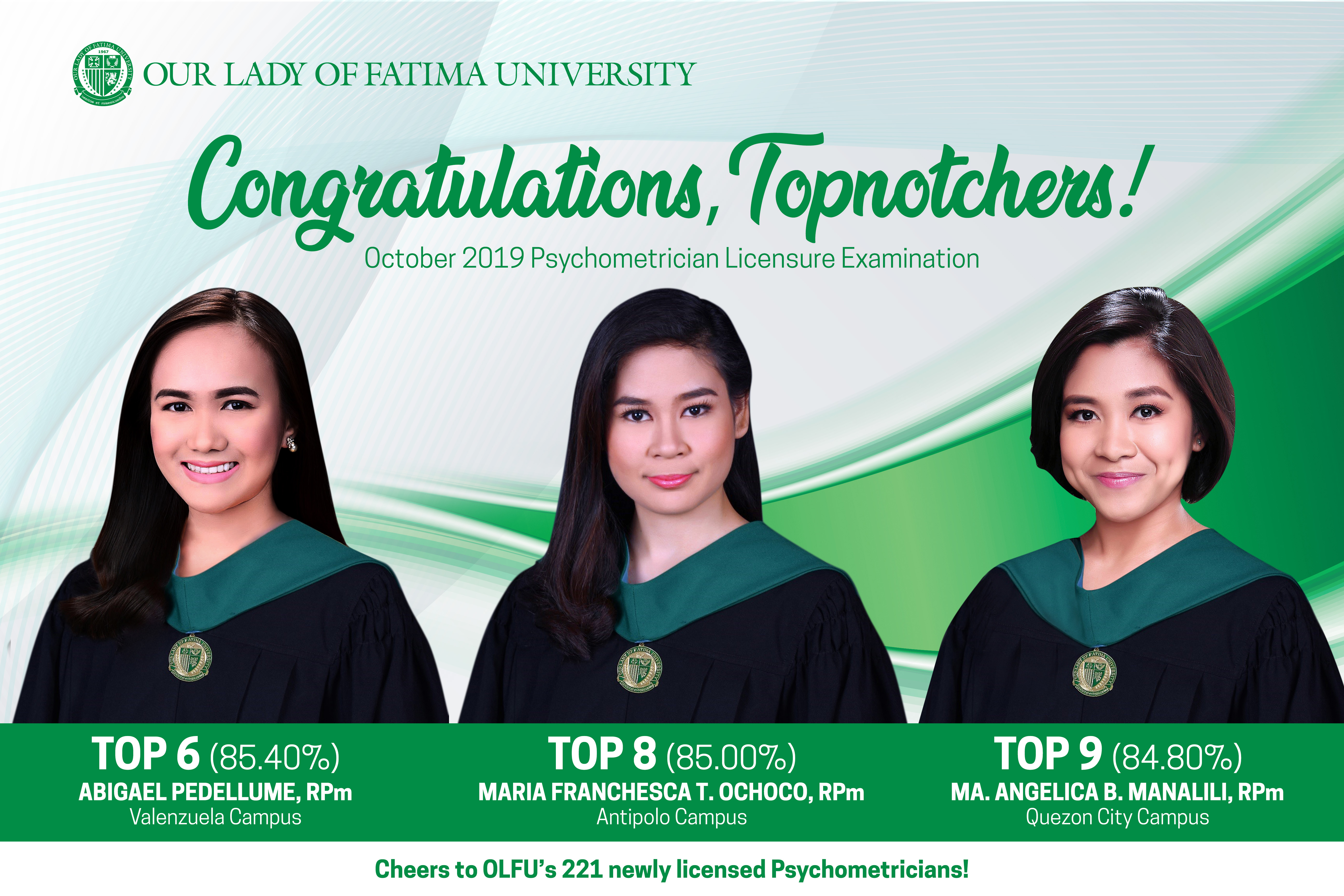 Fatimanians earn Triple Win in October 2019 Psychometrician Licensure Exam