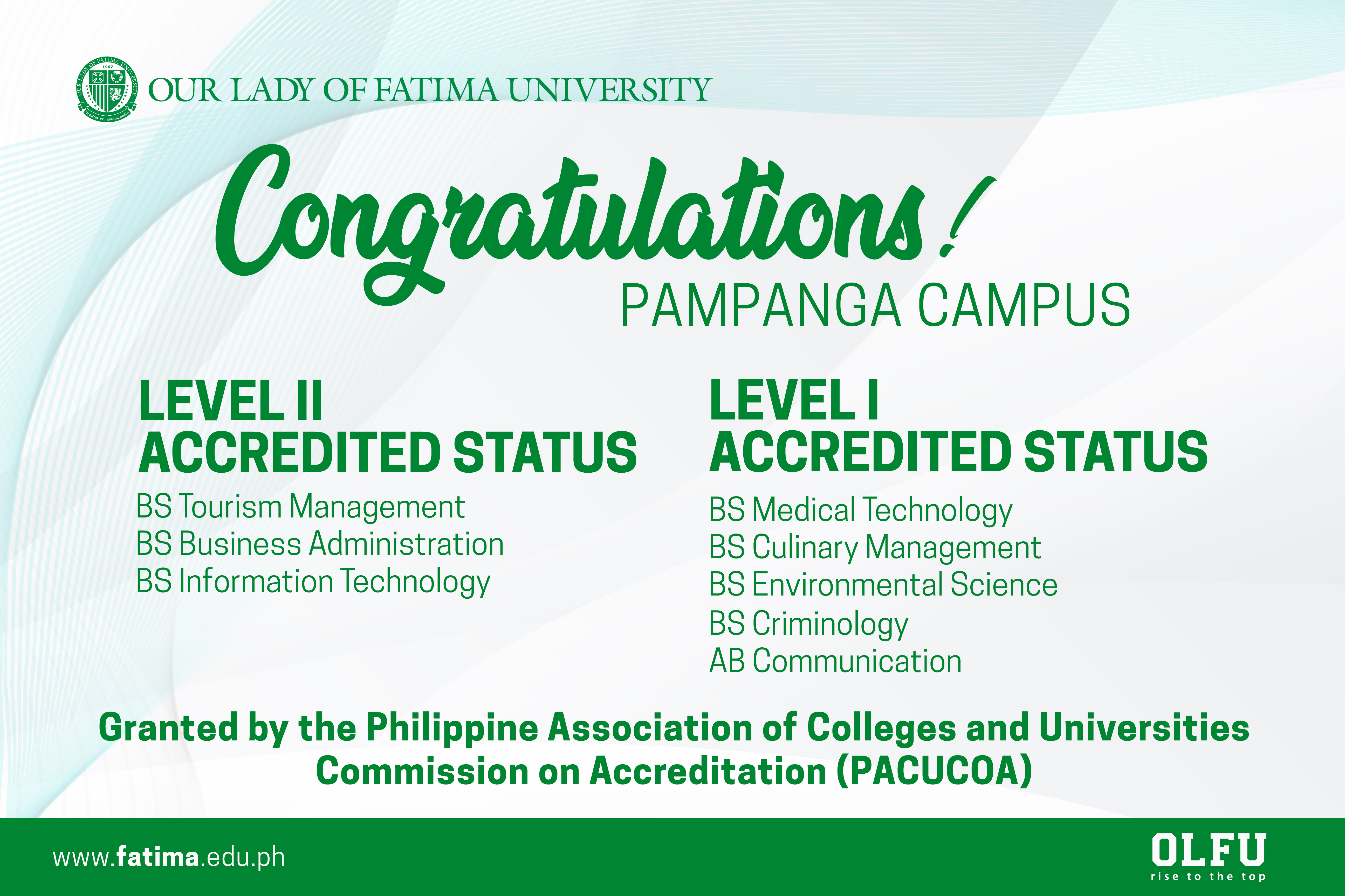 Pampanga Campus Programs earn Level I and II Accreditations