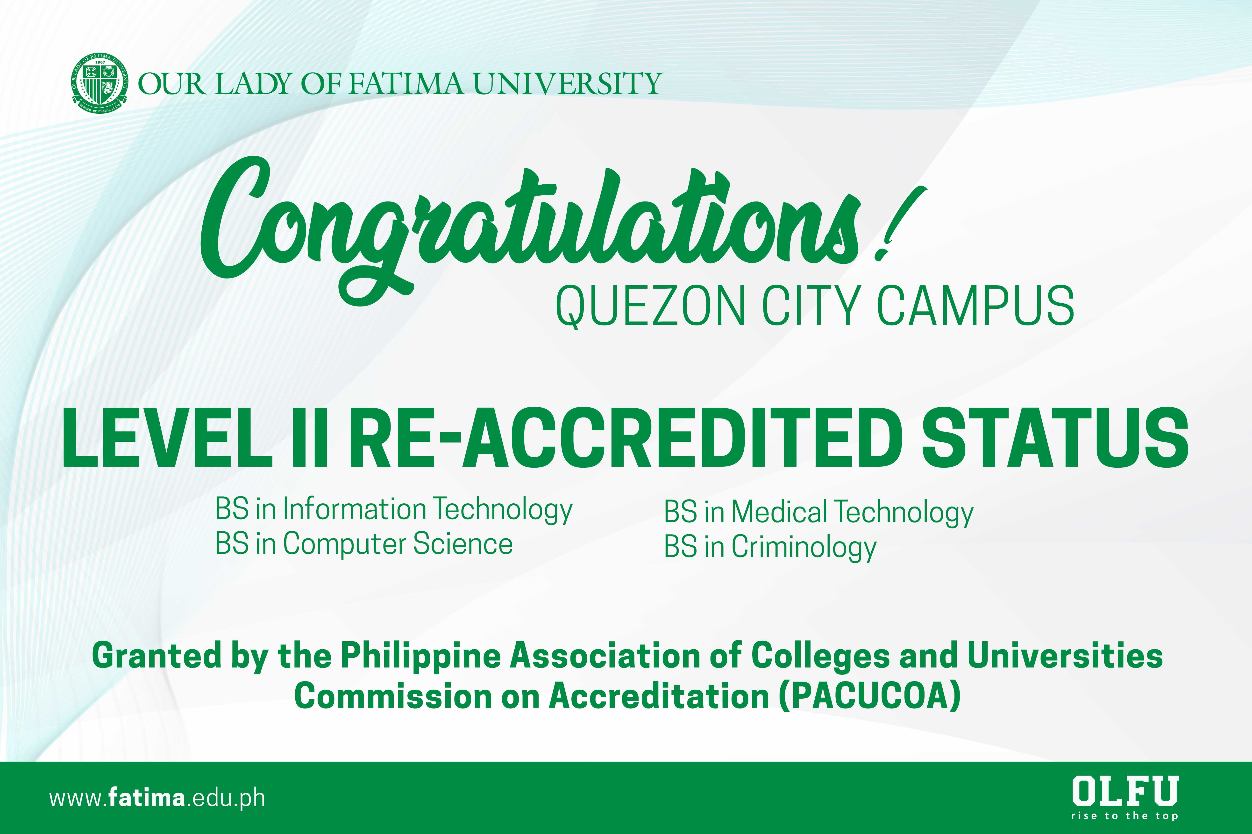 Quezon City Campus Programs receive Level II Re-accredited Status from PACUCOA