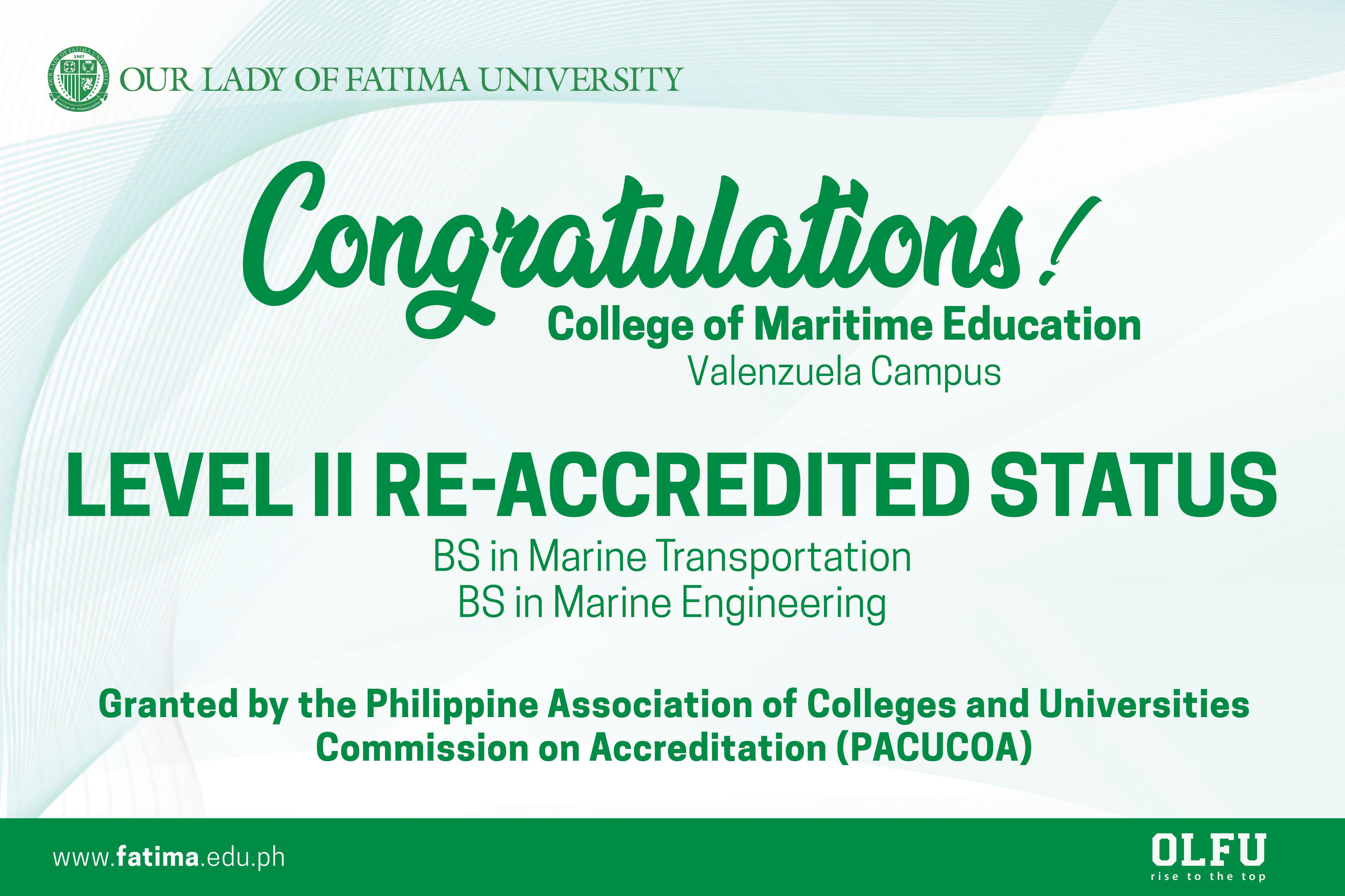 Maritime Programs granted Level II Accreditation by PACUCOA
