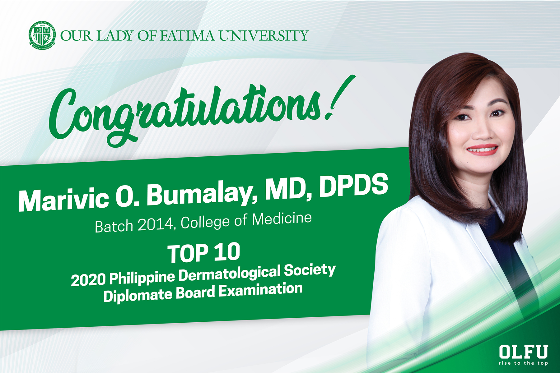 OLFU Medicine Alumna tops the Philippine Dermatological Society Diplomate Board Exam