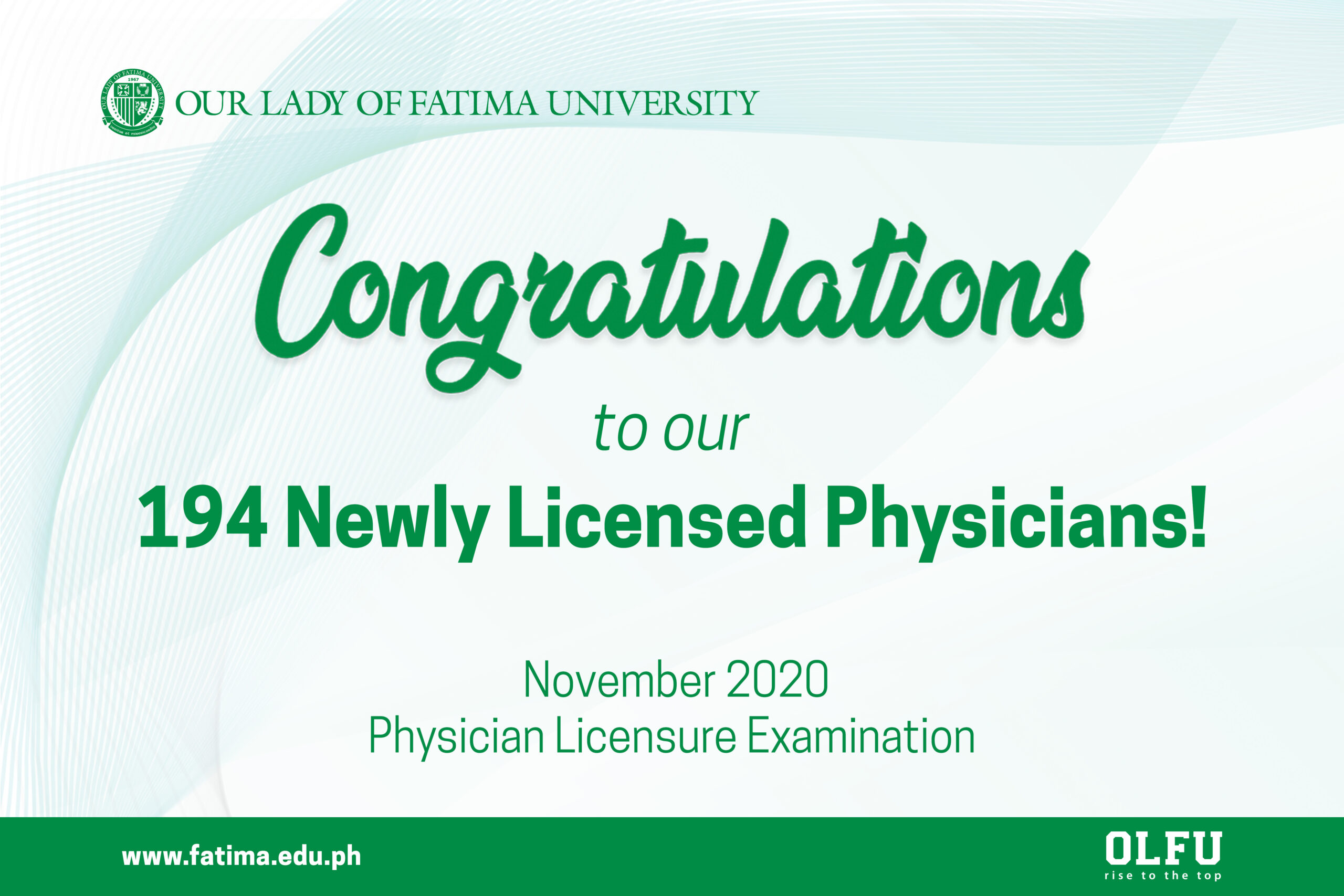 194 OLFU Graduates soar in November 2020 Physician Licensure Exam