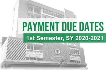 Payment Due Dates 1st Semester SY 2020-2021