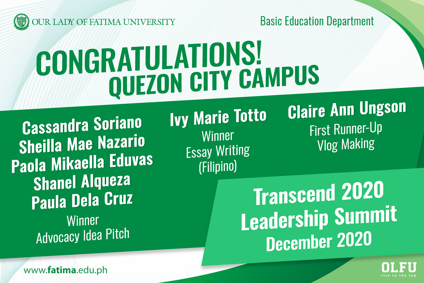Learners of BED QC take wins in Transcend 2020 Leadership Summit