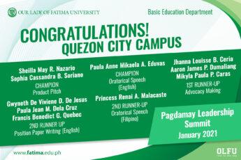 Young QC Student Leaders take Multiple Wins at Pagdamay 2021 Virtual Leadership Summit